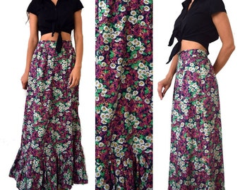 Vintage 70's Floral Maxi Ruffled Skirt - Size Small