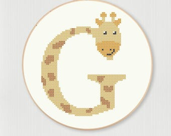 Cross stitch letter G Giraffe pattern, instant digital download