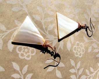 Copper Wire Wrap Mother of Pearl Earrings with Modern Styling Handmade