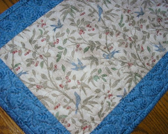 Quilted Table Runner, Blue Bird Runner,  13 1/2 x 38 inches