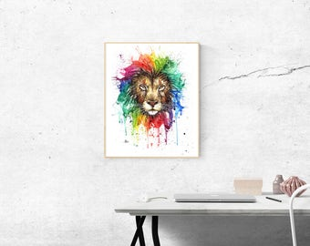 Rainbow lion watercolor painting fine art print