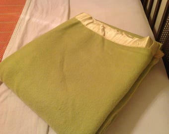 Vintage Lime Green Wool Blanket