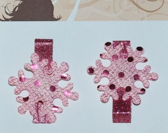 Frozen Inspired Pink Snowflake Hair Clips - Buy 3 Items, Get 1 Free