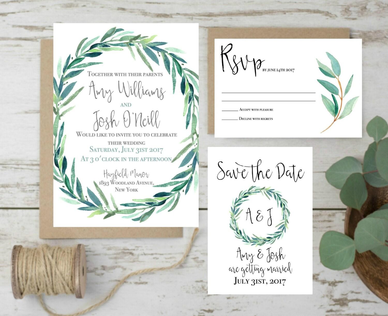 Green Wedding Invitation Eucalyptus Wedding Invitation