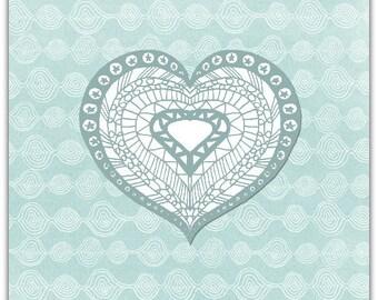 Blue Heart original greeting card handmade 15cm x 15cm