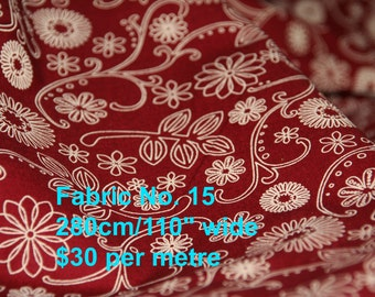 100% cotton, fabric, extra wide, maroon, red, flowers, floral, quilt backing, quilt fabric,