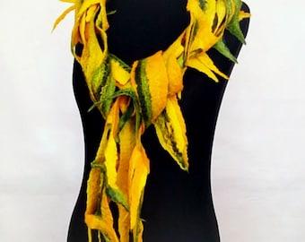 Felt scarf mesh Felt necklace Wool jewelry Felt products Cobweb scarf Gift her Bohemian decoration Green scarf Yellow felt scarf wool Merino