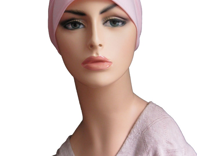 Pink Bamboo and Cotton Womens Chemo Hat  - Chemo Ca p and Cancer Headwear Slouch Beanie