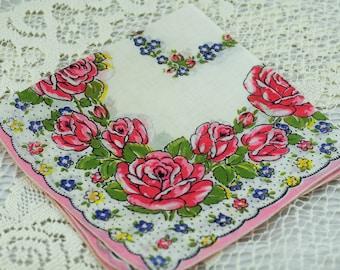 Vintage Hankie, Wonderful Pink, White Floral Hankie #D-48