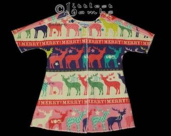 Micro Preemie Clothes, Preemie Christmas Pajamas, NICU Approved Gown, Preemie Girl clothing,  Red Reindeer , Flannel Pyjamas, X-mas PJ's