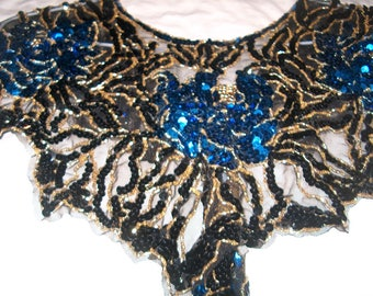 Gorgeous Sequinned Collar or Wrap, Shawl, Blue, Black & Gold, Womens Clothing