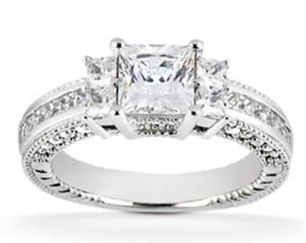 Princess Cut 1.00CT Diamond Vintage Heirloom Ring 14K White Gold
