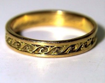 RESERVED*INSTALMENT 2*Antique French Posy Today More Than Yesterday 18ct Yellow Gold Ring O 1/2~7 1/2