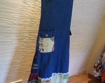 Jumper Dress, Upcycled Dress, Handmade Dress, Denim Dress, Unique Clothing, Recycled Clothing, Fruit, Pullover Dress, Sleeveless Dress, Boho