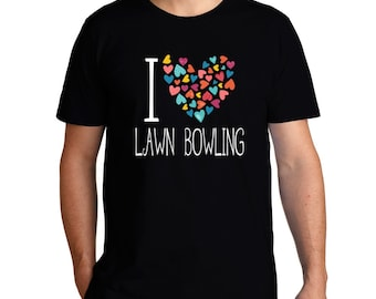 I Love Lawn Bowling Colorful Hearts T-Shirt