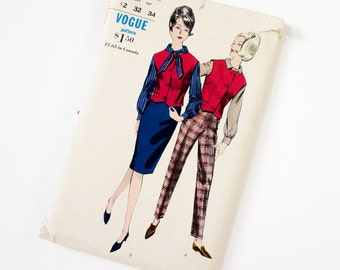 Vintage 1960s Womens Size 12 Blouse, Skirt, Waistcoat and Pants Vogue Sewing Pattern 5983 Complete / bust 32 waist 25