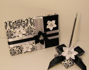 Wedding Guest Book and Pen Set Damask ,Black and White -Custom Made/made to order.