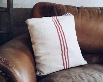 Striped Grain Sack & Vintage Ticking Tie Pillow Cover - Farmhouse Style