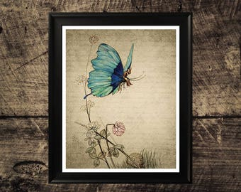 Butterfly Vintage print, Butterfly Rider, vintage wall art, room decor, butterfly wall decor, butterfly instant download