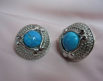 Clip earrings with cabochon stone of Turquoise - OOAK