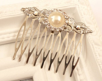Bridal hair comb in white silver, rhinestone hair comb, festive hair comb, wedding hair comb