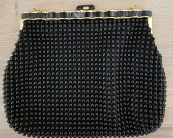 Vintage Black Beaded and Marbled Clutch