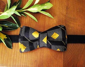 Bow tie diamond silk Navy Blue, gold, geometric, men, unique piece
