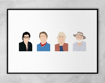 Jurassic Park | Jeff Goldblum | Sam Neill | Richard Attenborough | Minimal Artwork Poster