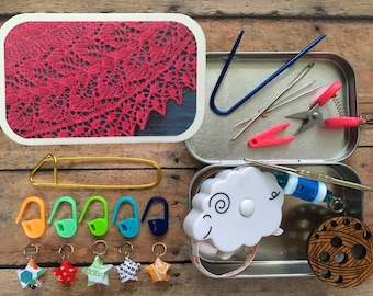 Knitter's Tool Tin - Teasdale: a knit kit for traveling knitters and their project bags!