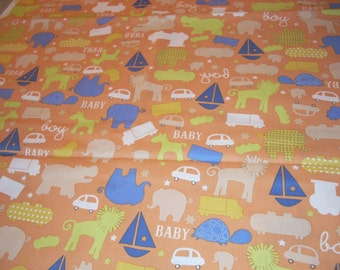 """Itsy Bitsy baby boy cotton Fabric by K and Company - 14"""" wide - sold by the yard"""