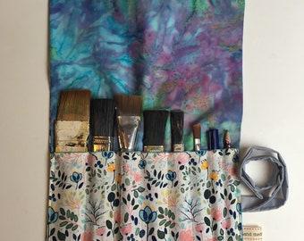 Tie dye artists paintbrush wrap tidy pen roll up floral flower makeup brush set organisation organization  gift birthday hobby bright hippy