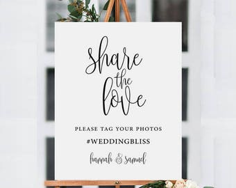 Share The Love Sign, Wedding Hashtag Sign, Wedding Printable, Hashtag Printable Template, Wedding Sign, Wedding Printable, Instagram Wedding
