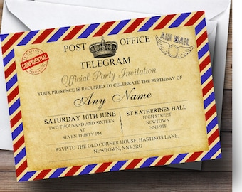 Airmail invitation etsy vintage airmail telegram postcard personalised birthday party invitations solutioingenieria Choice Image