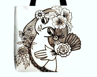 "B & W ""The young girl and the bird"" Women Tote Bag - ""La joven muchacha y el pájaro"" Artistic Creation by Ila Mass 18"" x 18"""