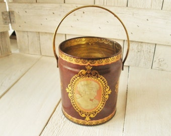 Vintage metal tin cameo burgundy coral gold Enchantress English 1960s- free shipping US