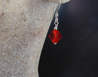 Red Swarovski crystal earrings, Siam red and silver: Earrings and Pendant can be bought as a set