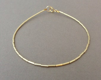 Gold Fill Beaded Bangle Bracelet also in Silver