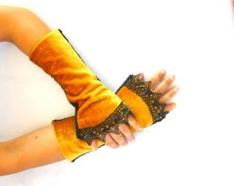 Fingerless gloves arm warmers yellow sunflower velvet Black Lace