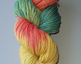 Golden Autumn Wool Yarn Superwash Merino Worsted Weight Hand Dyed ,  Multi Colored  Variegated Medium Green  Golden brown Rosy Orange