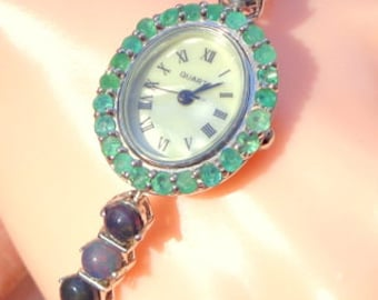 Ethiopian Welo, Black Opal and Natural Emerald Quartz Watch, Mother of Pearl Face, Sterling Silver Setting, Opal Bracelet