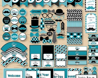 Little Man Birthday PRINTABLE Party Package Decorations Teal Blue and Black Diy INSTANT DOWNLOAD Pdf LMB07