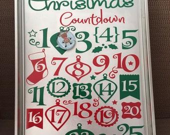 Christmas Countdown Calendar, Unique Advent Calendar, Days until Christmas, Days until Santa, Christmas Decor, Holiday Decor