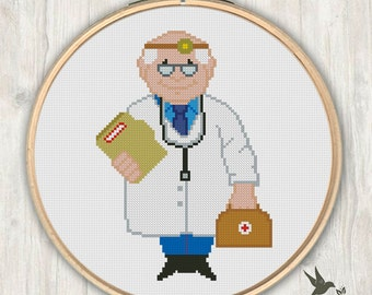 Doctor, Modern Cross Stitch Pattern, Needlecraft