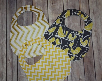 Ready to ship & Embroider with your childs name or initials! Set of 3 bibs - Gold Chevron, Birds, Yellow Chevron