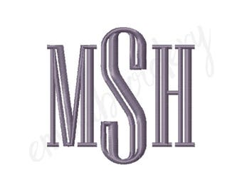 """7 Sizes Engraved Monogram Machine Embroidery Font - 1"""" 1.5"""" 2"""" 2.5"""" 3"""" 3.5"""" 4"""" - 8 File Formats PES JEF DST - Satin Stitch Instant Download"""