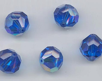 Six pieces vintage Swarovski Art. 39/5300 - 14 mm - capri blue AB