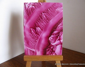 Inventory Clearance ACEO Marsala Roots I - Encaustic Wax Original Art - Magenta, Maroon. SFA (Small Format Art)