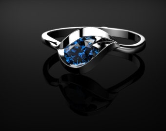 Sterling Silver Sapphire Ring Silver Sapphire Engagement Ring Sapphire Ring Sapphire Sterling Silver Sapphire Ring December Birthstone