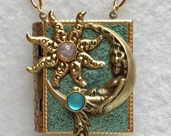Book Necklace-Moon jewelry-Star jewelry-Goddess Jewelry-turquoise-gold-book locket