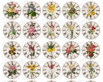 Time to Smell The Flowers - Clocks & Flowers - INSTANT DOWNLOAD - 1.5 Inch Circles - For Pendants Magnets - Crafts - Digital Collage Sheet